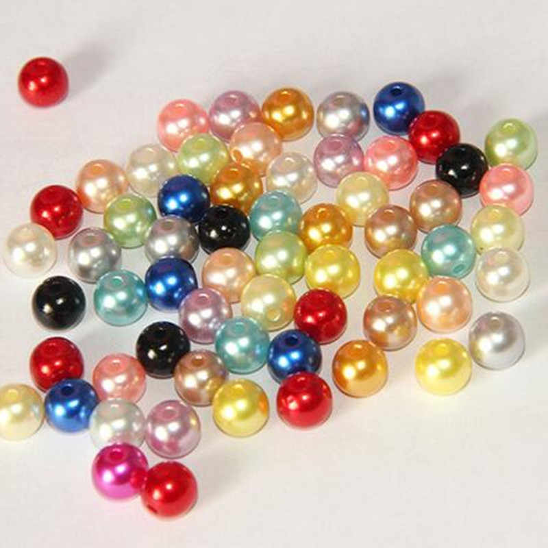 Hot 6mm 8mm 200pcs Mixed ABS Acrylic imitate Pearl Spacer Ball Round Plastic Beads Pearls Resin Scrapbook Beads Decorate Diy