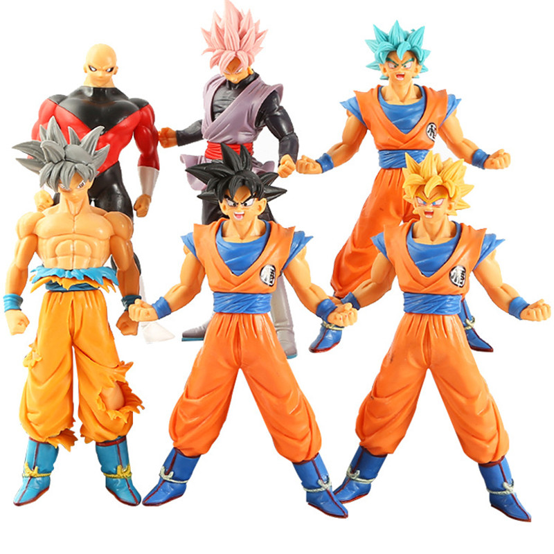 6 pcs/lot Dragon Ball Z Super Saiyan (Ultra Instinct) Son Goku figurine Action Rose Goku noir Jiren Gogeta modèle jouets 18 cm