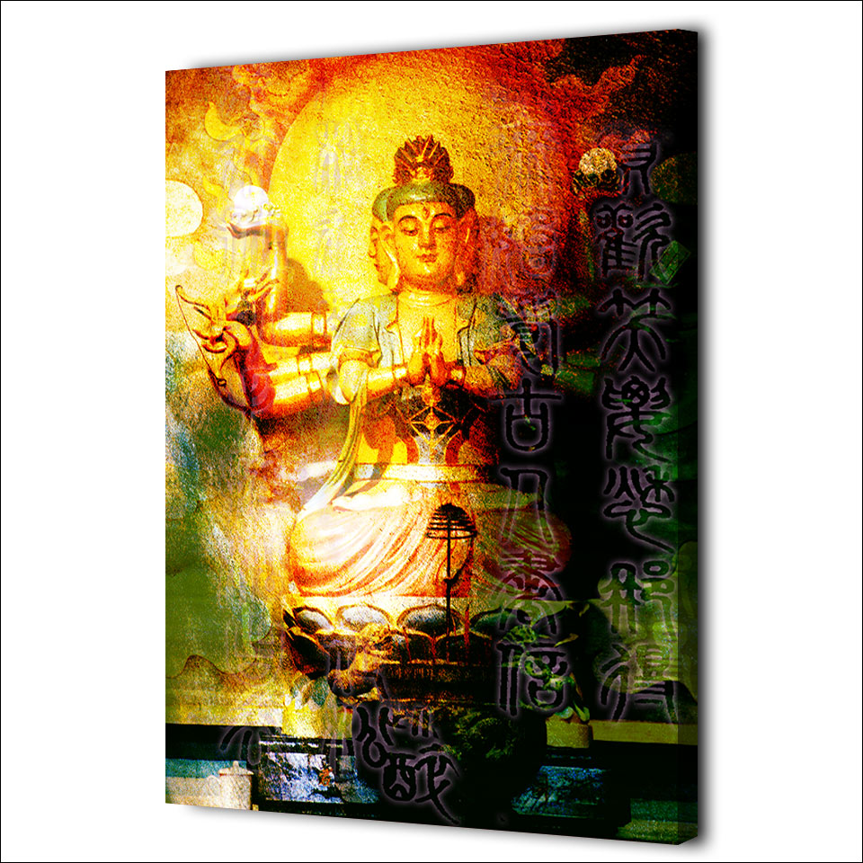 1 piece canvas art large buddha wall art meditation canvas Painting ...