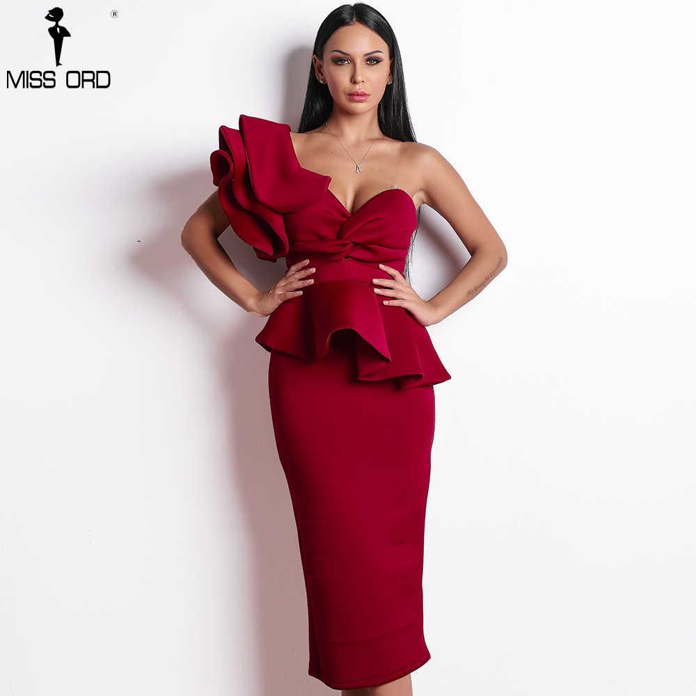 Missord 2019 Women Sexy Bodycon Off Shoulder Bandage Dresses Female Ruffles  Backless Elegant Club Dress Vestido 9ac48e1879f5