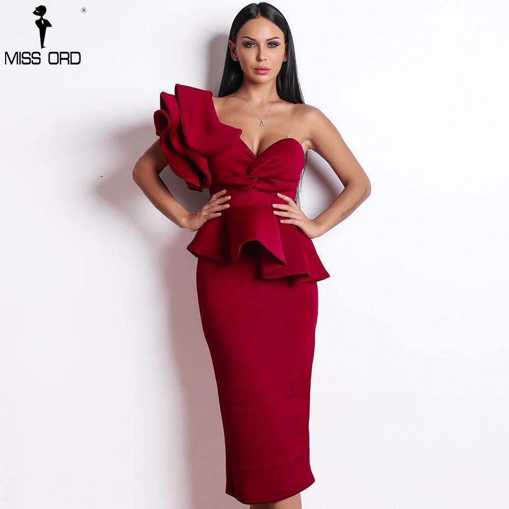 Missord 2018 Frauen Sexy Bodycon Weg Schulter Bandage Kleider Weiblichen Rüschen Backless Elegante Club Kleid Vestido TB0020