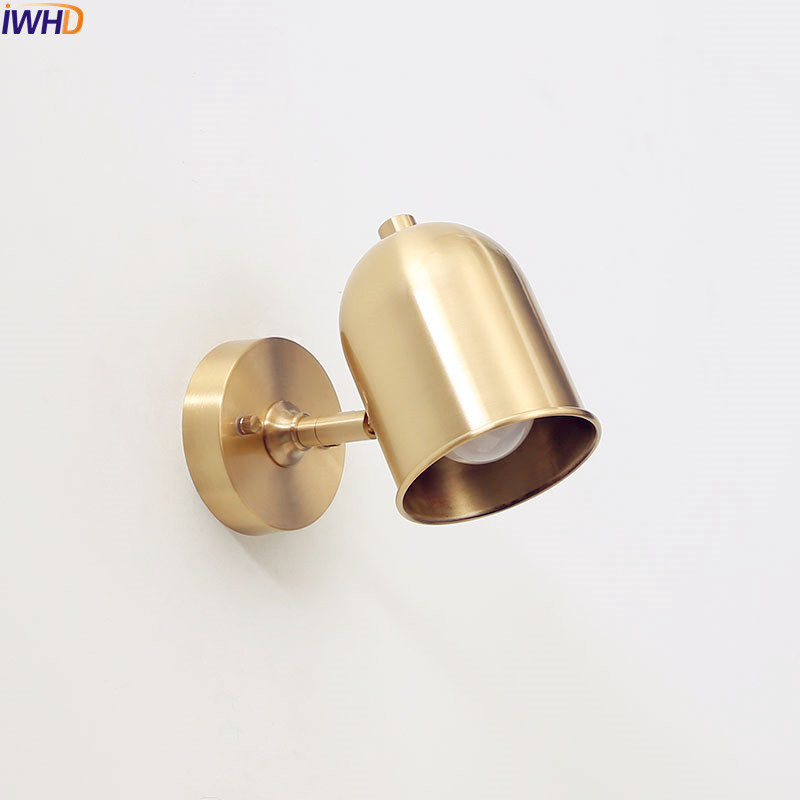 купить IWHD Brass Copper LED Wall Lights Fixtures Stair Bedroom Bathroom Mirror Light Wandlampen Vintage Wall Lamp Home Lighting по цене 4335.52 рублей