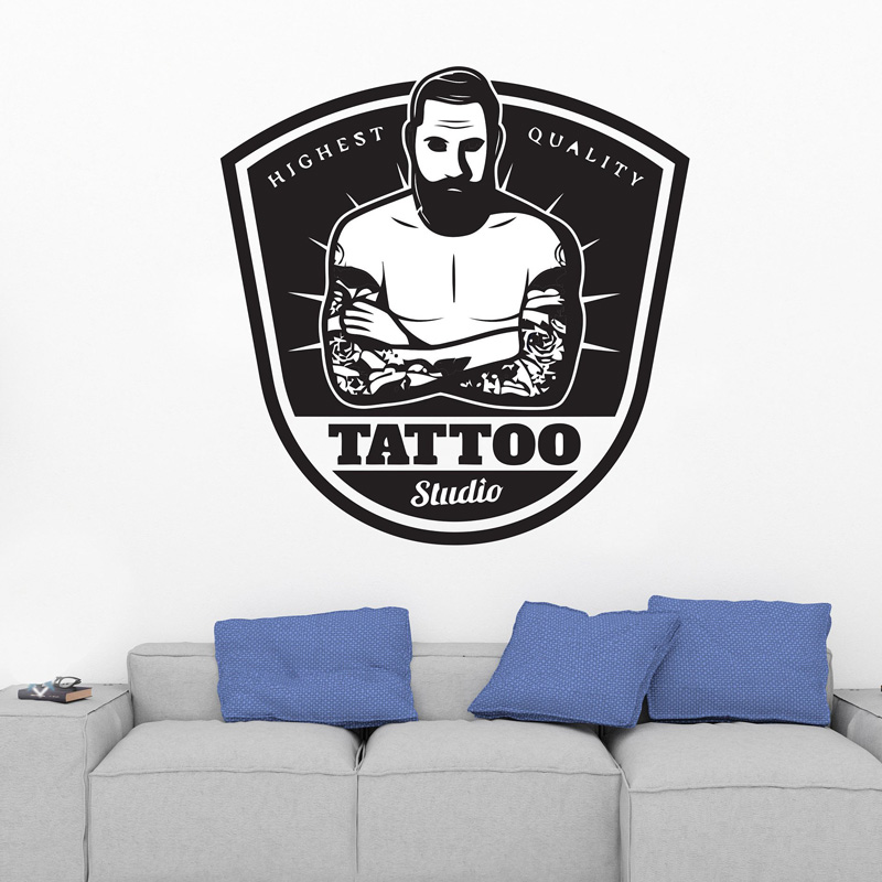 Tattoo Salon Wall Decal Tattoo Shop Sign Logo Poster Studio Design Door Window Vinyl Sticker Mural Gift Decor F871 in Wall Stickers from Home Garden