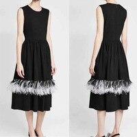 Высокое качество женские черные платье удивительно перо украшения шерсть Вечерние Длинное платье элегантные платья партии леди vestido de festa