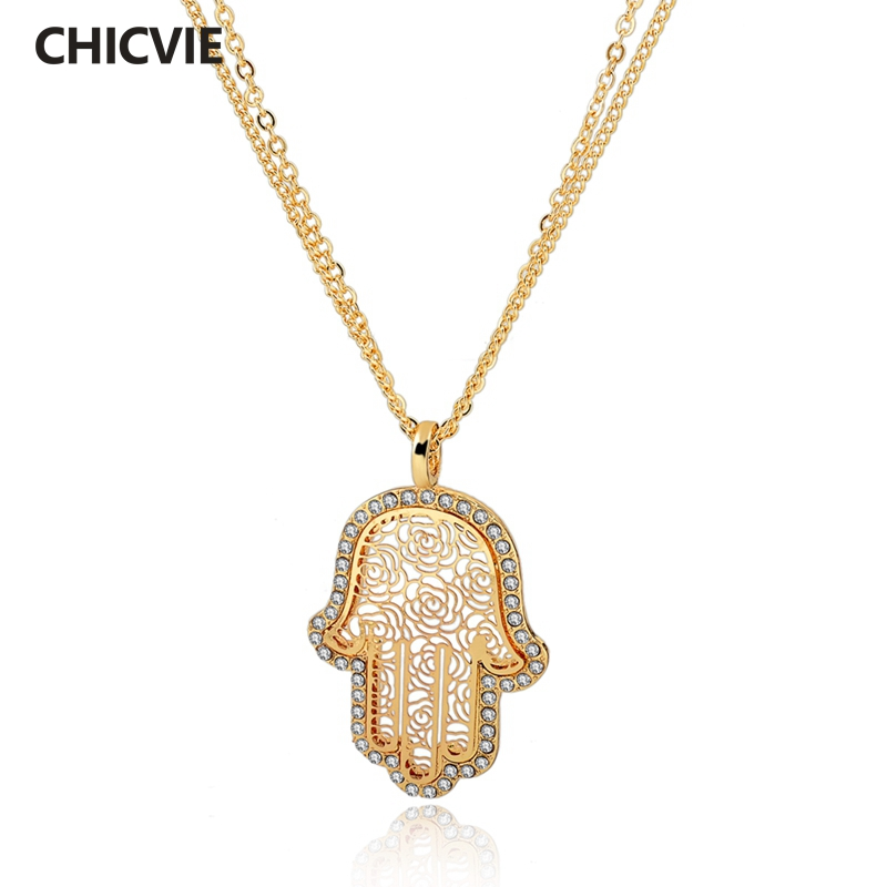 CHICVIE Long Gold plated Crystal font b Necklaces b font For Women Fatima Evil Eye Hand