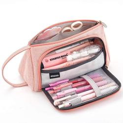 큰 용량 연필 케이스 가방 파우치 펜 홀더 중학교 사무실 대학 소녀 성인 대형 스토리지 핑크 편지지 가방