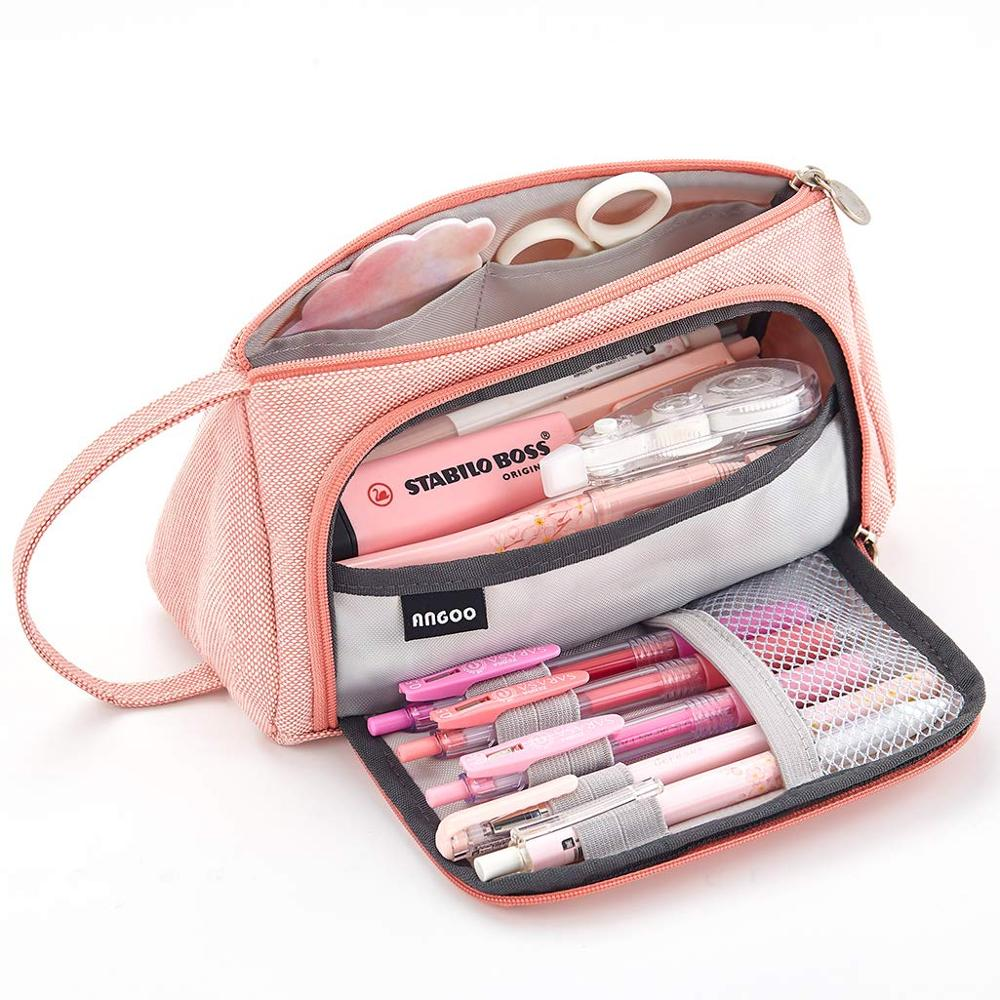 Big Capacity Pencil Case Bag Pouch Pen Holder For Middle High School Office College Girl Adult Large Storage Pink Stationery Bag