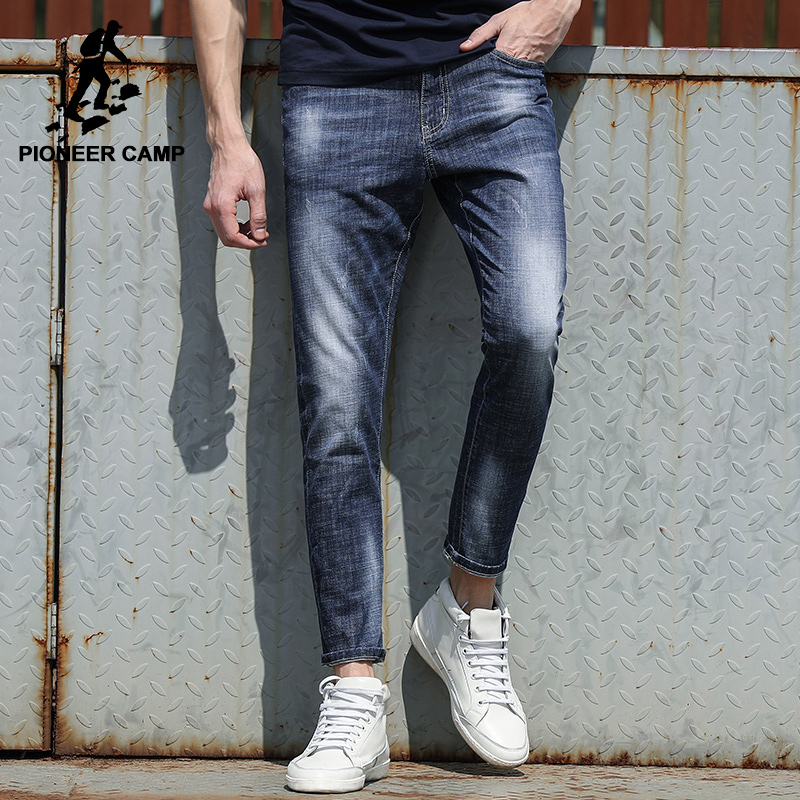 Pioneer Camp New arrival jeans pants men brand clothing slim fit fashion denim trousers male top quality pencil pants ANZ707017 jeans men s blue slim fit fashion denim pencil pant high quality hole brand youth pop male cotton casual trousers pant gent life