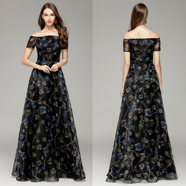 3d67a73b798 New 2018 night owl Pattern Boat Neck A-line Long formal Evening Prom Party  Dresses Floor-length Black us size 4 6 8 10 12