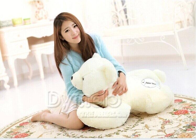large 95 cm white polar bear plush toy lying polar bear doll surprised gift w5473 подгузники polar bear canada 31