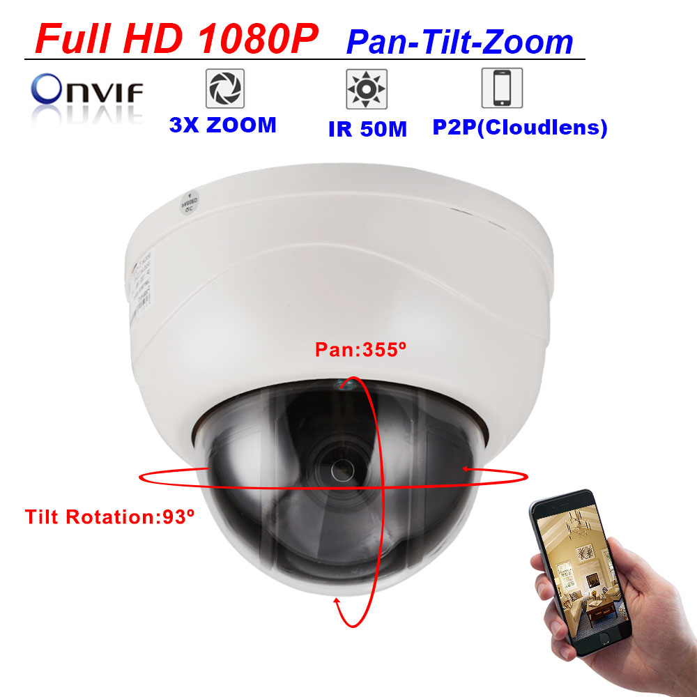 CCTV Security Full HD IP Camera 1080P 2MP 3X Pan Tilt Zoom 4MP Speed Dome PTZ Camera Ceiling Dome P2P Mobile View ONVIF protocol free shipping mini cctv joystick keyboard controller for security pan tilt zoom ptz speed dome camera support pelco p d protocol