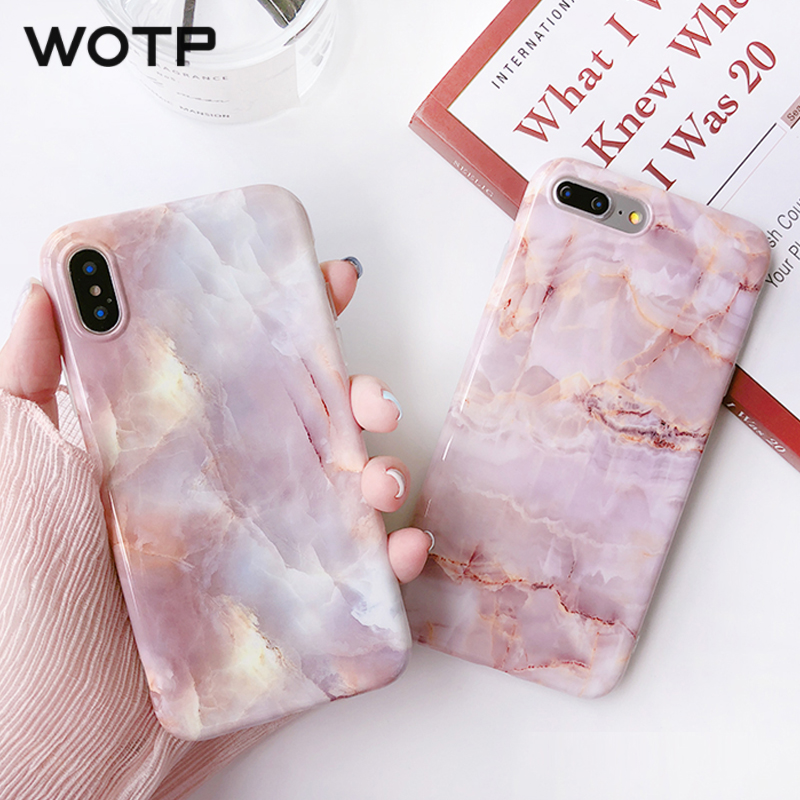 WOTP Candy Color Marble Pattern Phone Case For iphone 7 6 6S 8 Plus Back  Cover 88b839770bbf