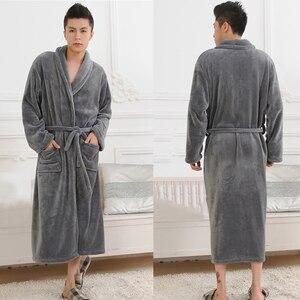 Image 5 - 女性男性フランネルバスローブパジャマ2020秋冬固体ぬいぐるみカップルバスローブ厚く暖かい女性ローブドロップシッピングスムース