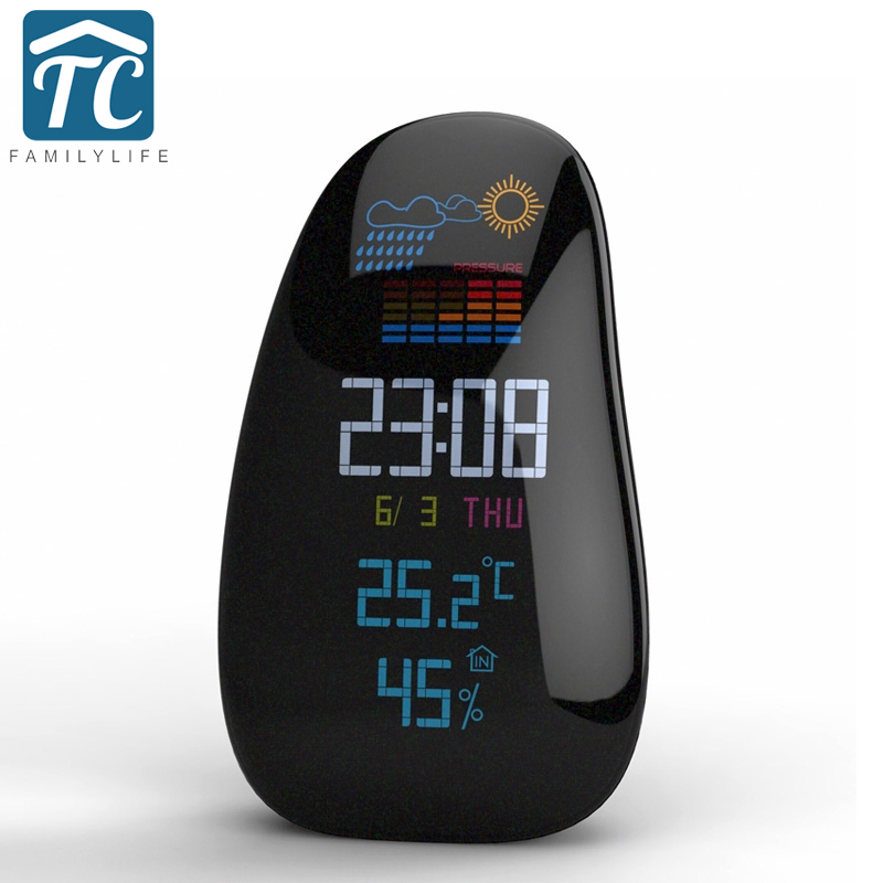 Creative Personality Pebble Wireless Weather Forecast Alarm Clock LED Backlight Multifunction Digital Sensor Weather Desk Clock