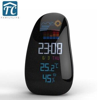 Creative Personality Pebble Wireless Weather Forecast Alarm Clock LED Backlight Multifunction Digital Sensor Weather Desk Clock