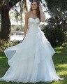 Dreagel Новый Дизайн Стиль Романтической Белое Свадебное Платье Изысканный Плиссированные Аппликации Из Бисера-Линии Многоуровневое Органза Юбка Суд Поезд