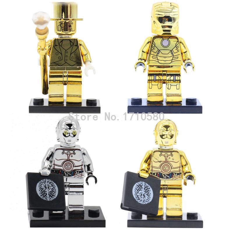 POGO Golden C-3PO Iron Man Minifigures 4pcs/lot Star Wars Tremendous Heroes Constructing Blocks Units Christmas Items Children Toys
