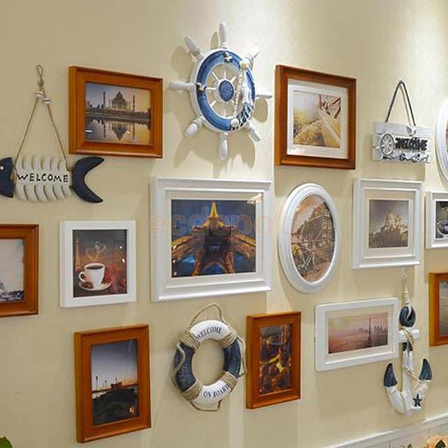 White Nautical Wood Boat Ship Steering Wheel Net Wall Hanging Home Decor E
