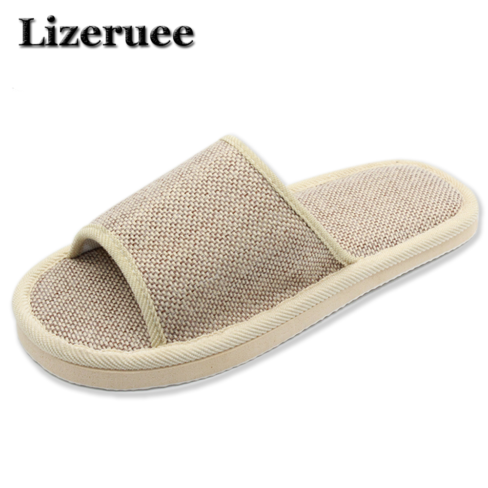 2018 Natural Flax Home Slippers Indoor Floor Shoes Silent Sweat Slippers For Summer Women Sandals Men Indoor Slippers HS301 2017 fashion flax home slippers indoor floor shoes belt silent sweat slippers for summer women sandals unisex flip flops af433