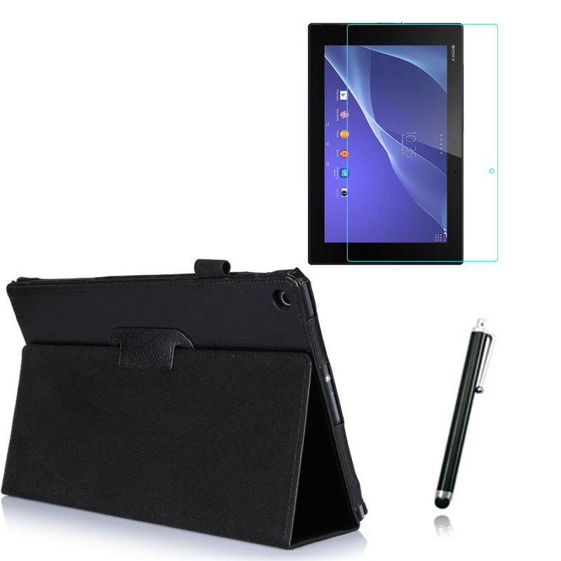 3in1 Luxury Magnetic Folio Stand Leather Case Cover Clear Film Stylus For Sony Xperia Tablet Z2