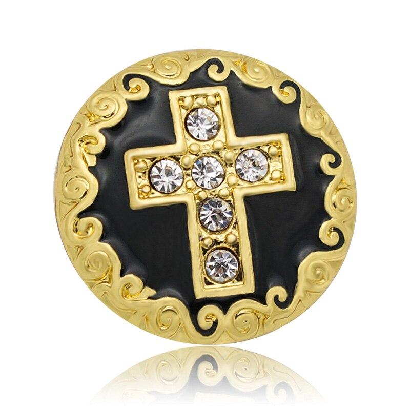 4773c782989a Caliente KZ1083 encanto Vintage Rhinestone Golden Cross 18mm botones de  ajuste de moda DIY encaje pulseras collares joyas al por mayor de moda
