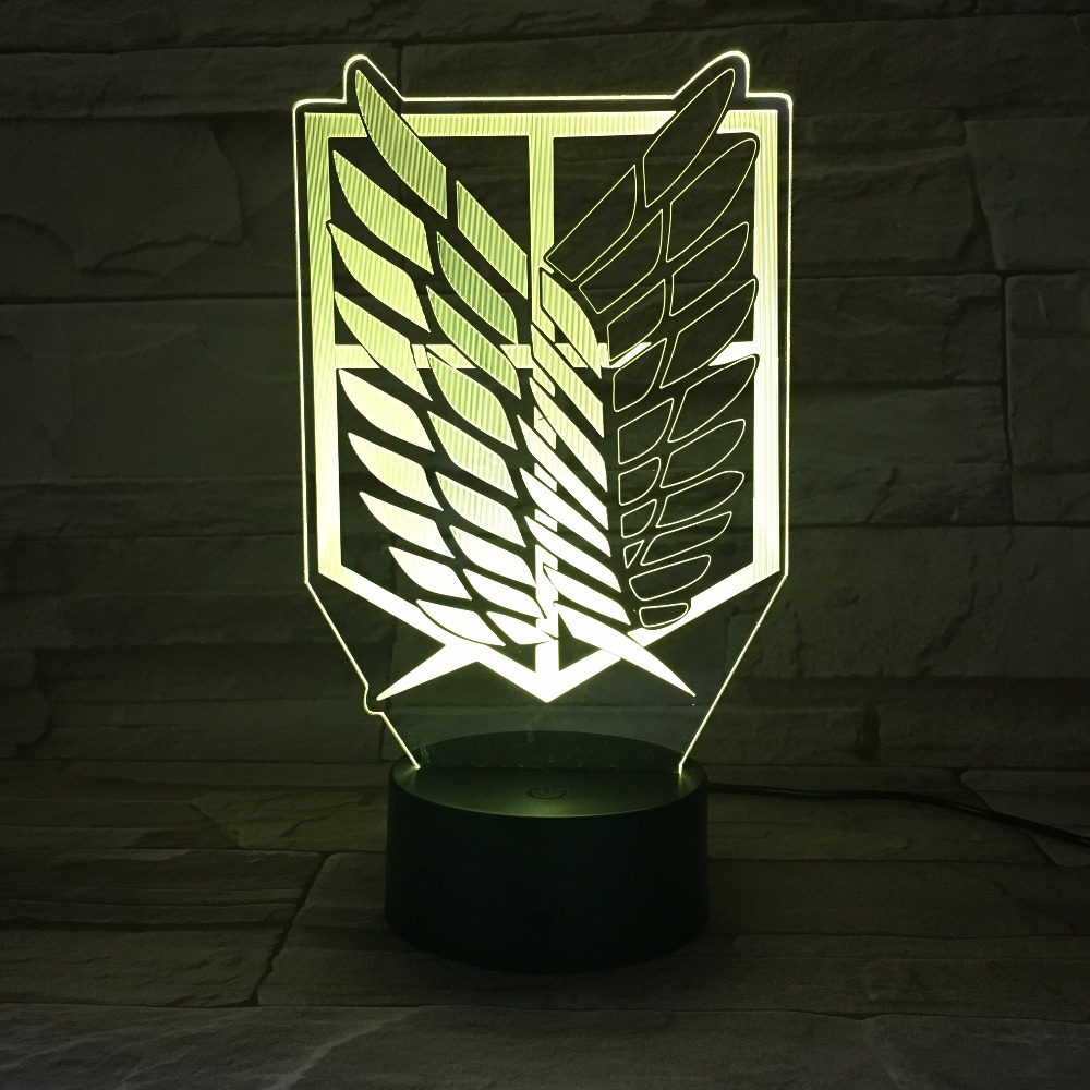 Anime Led Lamp | Anime Attack On Titan Wings Of Liberty 3D Light Touch LED Lamp USB Or 3AA Battery Operated Lamp Kids Gift  Free Dropship