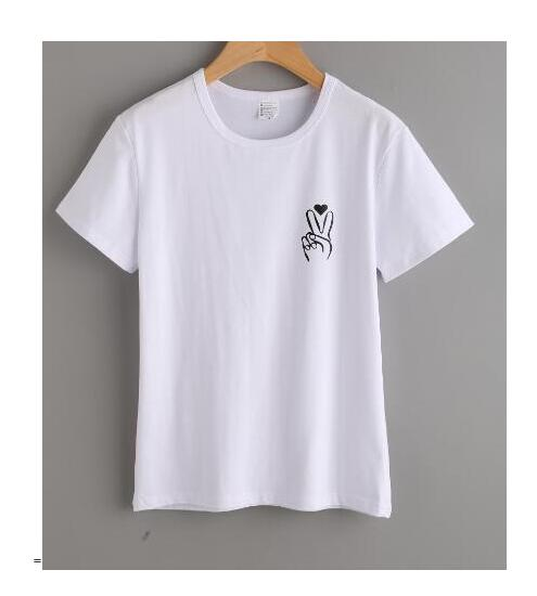Women/Men Graphic Hipster Tee Peace Sign Pocket Print T-Shirt love heart Nail Fingers Cute Tops Tumblr Girl tshirts Outfits