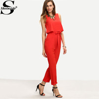 Sheinside Work Summer Red Sleeveless Bow Tie Waist Jumpsuit Sexy 2016 New Arrival Crew Neck Overalls