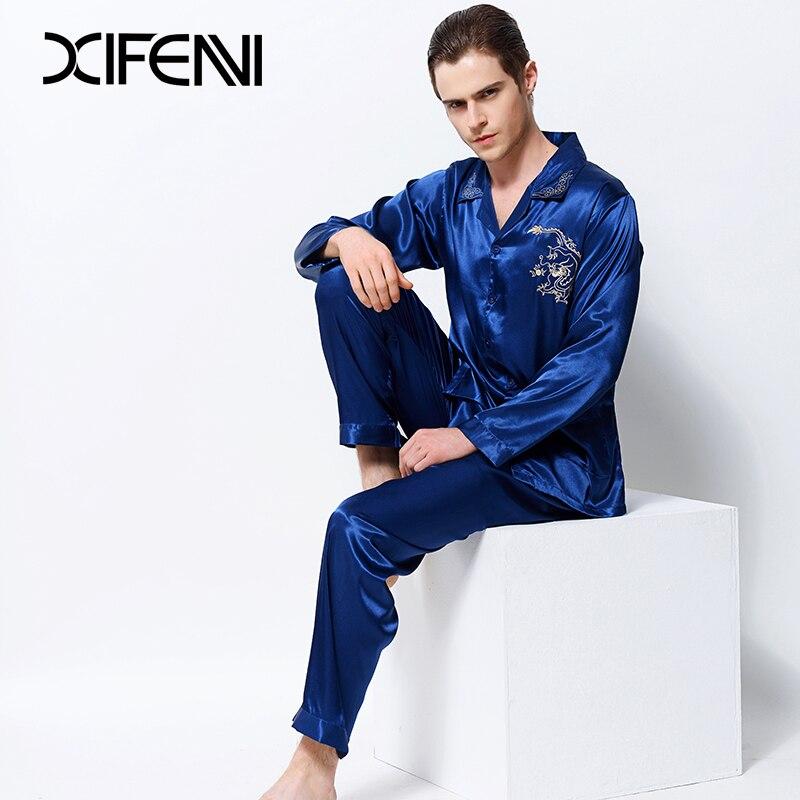 XIFENNI Men Satin Silk Pajamas Dragon Embroidery Pyjama Sets Long ... 735c3b049