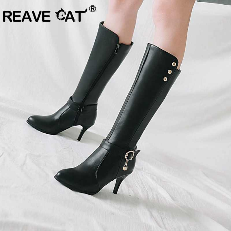 REAVE CAT Shoes Women Knee boots Spring Autumn shoes Plus size 34 46 Pointed Toe Zipper