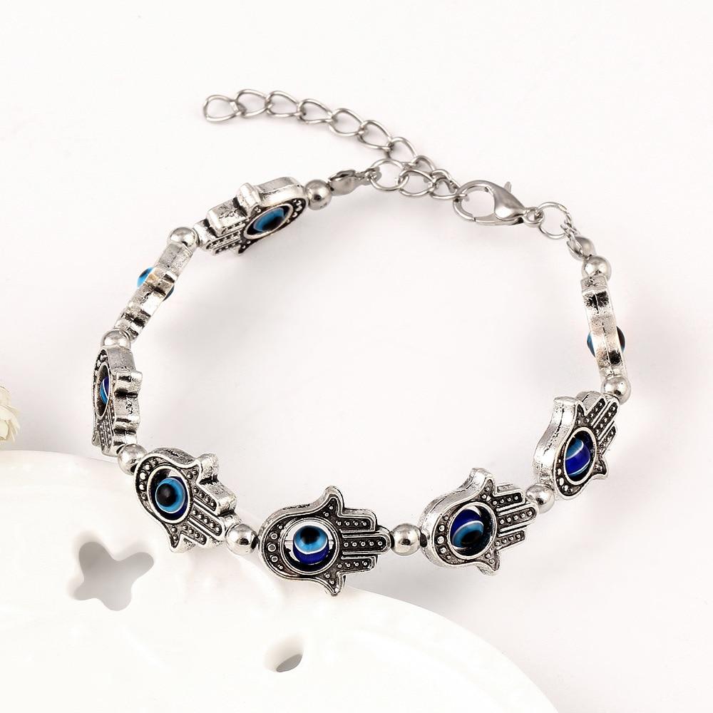 New Fashion Evil Eye Lucky Hamsa Hand Bracelet Charm Good Stone Bracelets &  Bangle For Women Men Friendship