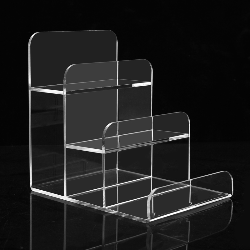 Transparent Acrylic Ladder Display Rack 3 layer L shaped Stand Holder Jewelry wallet Display Shelf 25pcs lot 8x4cm l shaped transparent acrylic stand supermarket price tag plastic table card holder