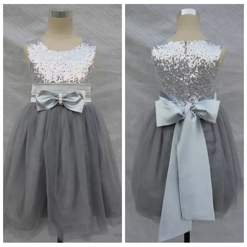 f0bfdf82fe Bling Bling Flowers Girl Dresses Silver Grey Sequins Sash Bow Tulle Flower  Girls  Formal Gown Cheap Sale Toddler-in Flower Girl Dresses from Weddings  ...