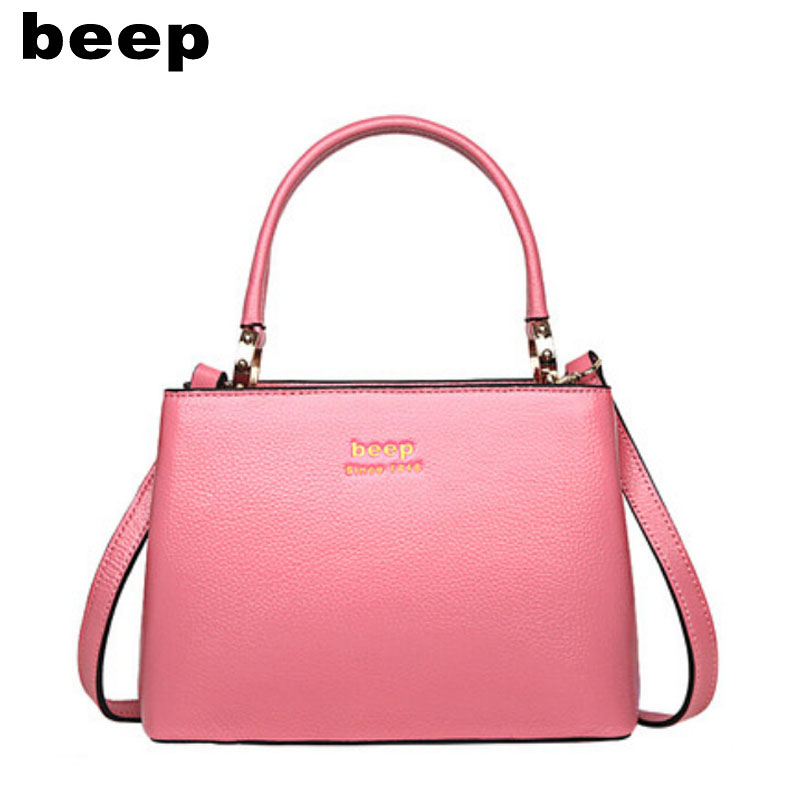 Beep Brand 2017 New Superior cowhide Luxury fashion Genuine Leather bag tote women leather shoulder bag  women's bag beep beep go to sleep