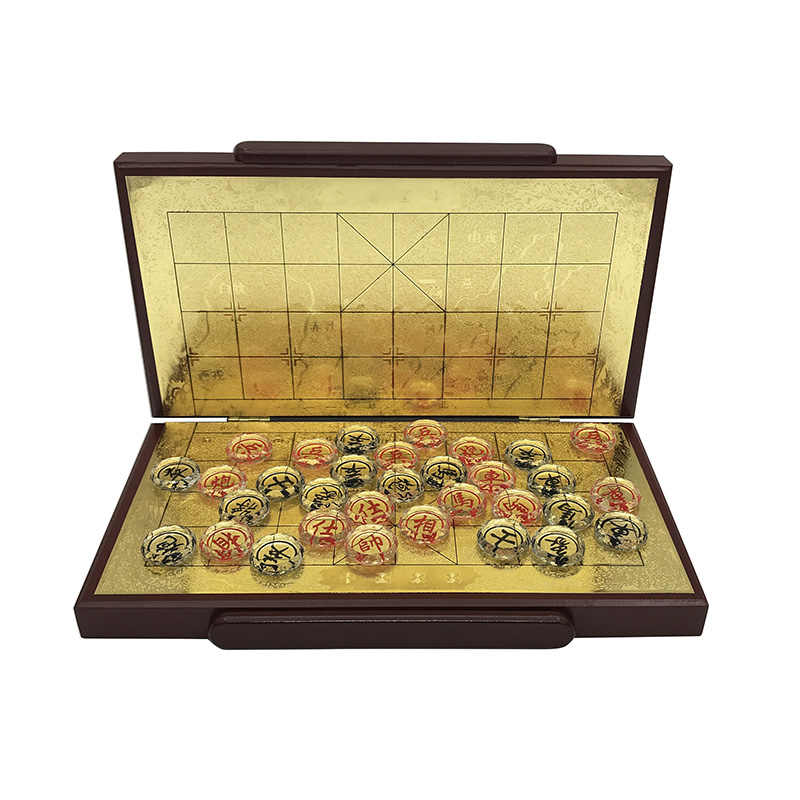 Yernea New Wood Chinese Chess Game Set Folding Chessboard Crystal Pieces Glittering Gold Foil Chessboard Upscal Chess Good Gift