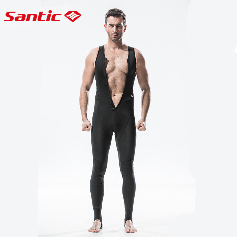 Santic Men Pro Fit Cycling Bib Pants Long Italian Padded Bib Pants Cycling Winter Thermal Fleece Pants Cycling Pants SM144F0903B цена