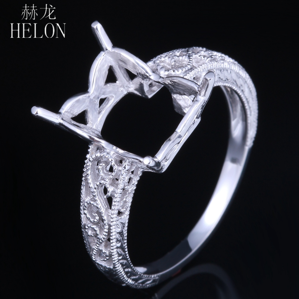 HELON Art Deco Solitaire Ring Solid 10K White Gold 10X8mm Emerald & Cushion Semi Mount Filigree Wedding Ring Fine Jewelry Ring