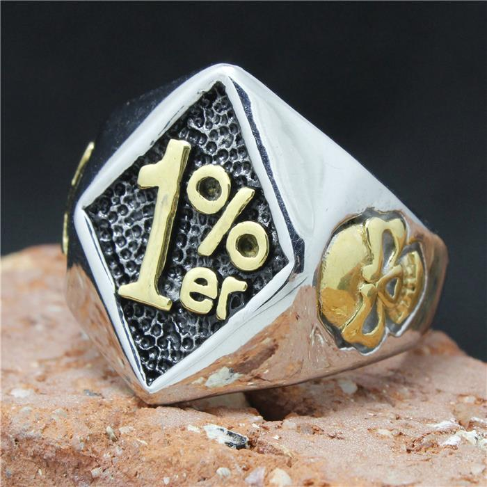 2015 Cool 316L Stainless Steel Biker 1% er Skull Ring Mens Fashion Motorcycle Biker Band Party Ring