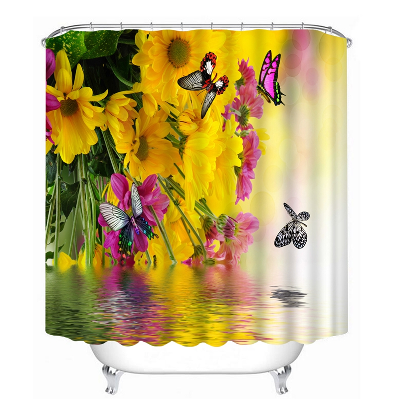 3D Flower And Butterfly Pattern Shower Curtains Beautiful Nature Bathroom Curtain Waterproof Thickened Bath Curtain Customizable