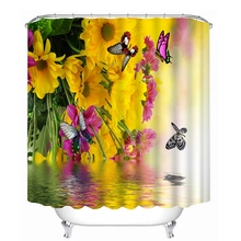 3D Flower and Butterfly Pattern Shower Curtains Beautiful Na