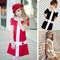 2016 Estilo Europeo Verano de Las Muchachas Ropa Vestido Marcas Cruz Botón de La Princesa Vestido de La Manera Rojo/de Color Caqui/Negro Collar de la Muñeca chica Kkids
