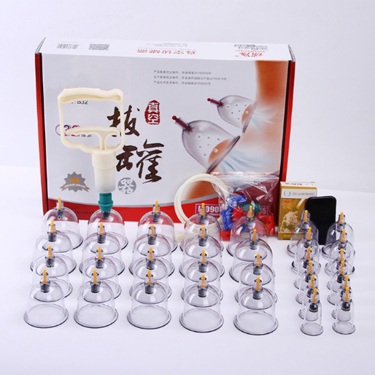 32 Cans Cups Chinese Vacuum Cupping Kit Pull Out Vacuum Apparatus Therapy Relax Massager Curve Suction Pumps