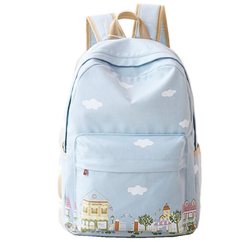 2016 New Fashion Women Canvas Backpacks for Teenage Girls School Clouds Printing Backpack High Quality Mochilas Free Shipping tourit 2016 new canvas printing backpack women school bags for teenage girls cute bookbags vintage laptop backpacks female