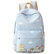 2016 New Fashion Women Canvas Backpacks for Teenage Girls School Clouds Printing Backpack High Quality Mochilas