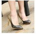 2016 женщин насосы известный золотой щепка блеск высокие каблуки удобные высокое качество женщины партия обуви офис каблуки ALF146