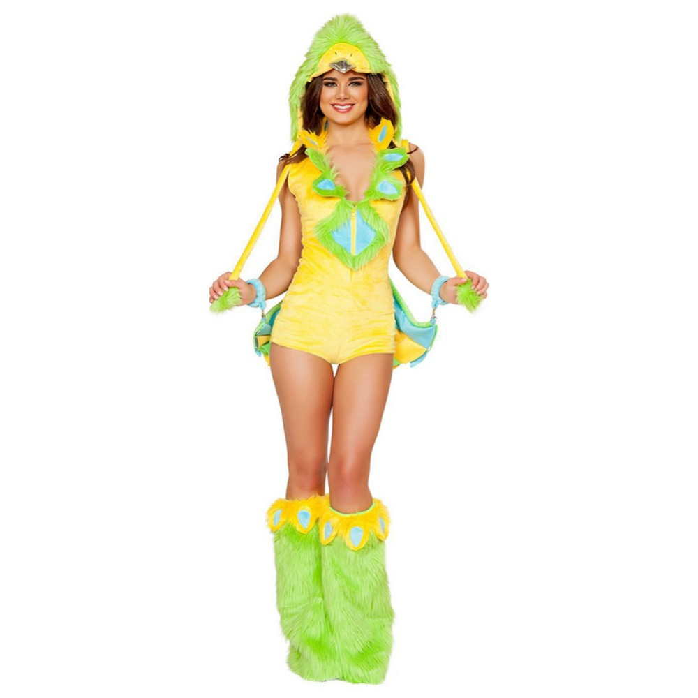 Green Bird Performance Costume Adult Women Halloween Carnival Clothes