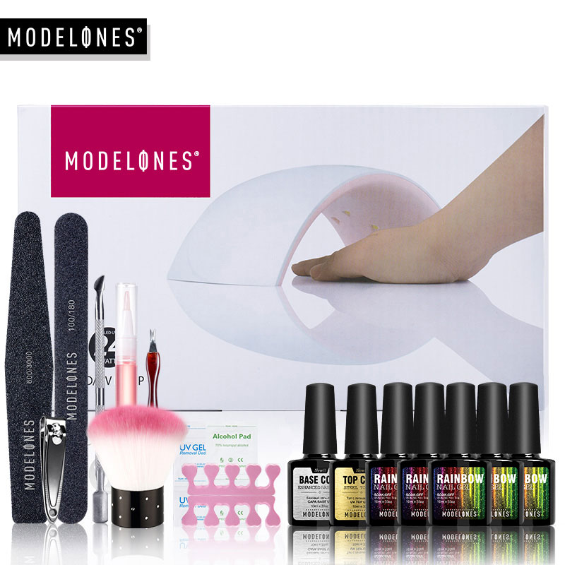 Modelones Nail Gel Soak-off Gel menggilap Top & Base Gel kot kuku menggilap kit 24w 9C lampu 5 warna alat alat seni set manicure
