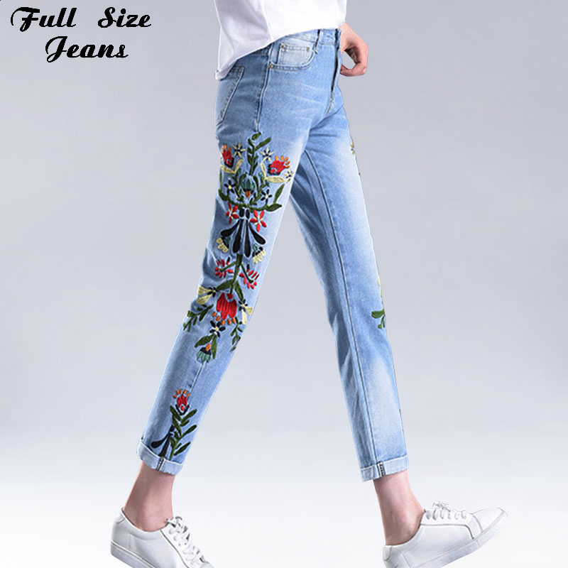 Summer Floral Embroidery Ankle Length Jeans Women Light Blue Denim Pants High Waist Plus Size Straight Jeans