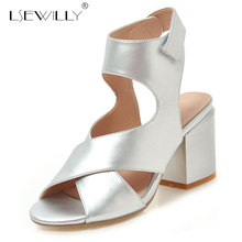 Купить с кэшбэком Lsewilly 2019 thick high heel shoes woman hollow out party shoes summer peep toe shoes women sandals gold silver size 34-48 E670
