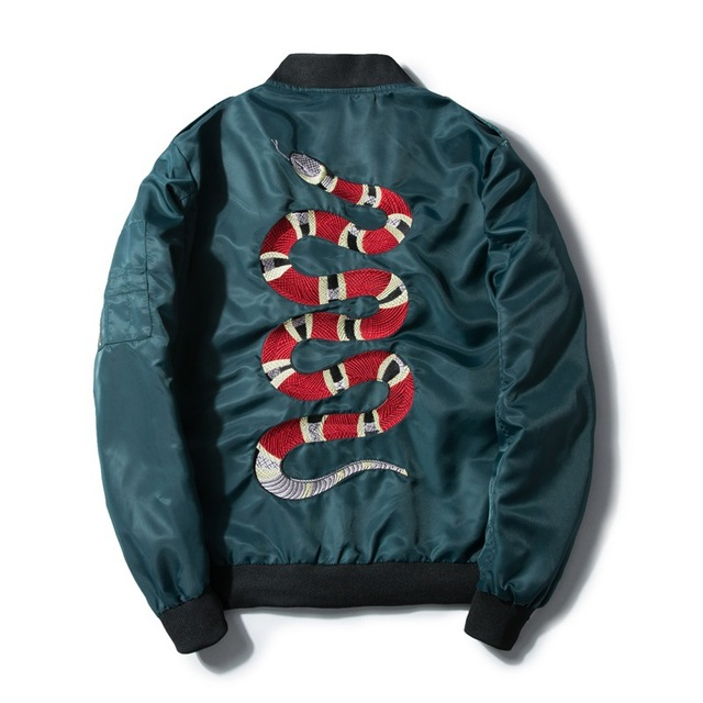 Mannan Herfst 2018 Jas Snake Borduren Jas Dunne Mannen Hip Hop High Street Streetwear Geborduurde Koppels Baseball Jas